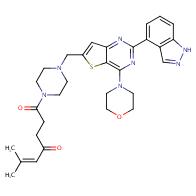 1-(4-((2-(1H-indazol-4-yl)-4-morpholinothieno[3,2-d]pyrimidin-6-yl)methyl)piperazin-1-yl)-6-methylhept-5-ene-1,4-dione