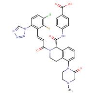 (S,E)-4-(2-(3-(3-Chloro-2-fluoro-6-(1H-tetrazol-1- yl)phenyl)acryloyl)-5-(4-methyl-2-oxopiperazin-1-yl)- 1,2,3,4-tetrahydroisoquinoline-1-carboxamido)benzoic acid