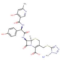 sodium (6R,7R)-7-((R)-2-(4-hydroxy-6-methylnicotinamido)-2-(4-hydroxyphenyl)acetamido)-3-(((1-methyl-1H-tetrazol-5-yl)thio)methyl)-8-oxo-5-thia-1-azabicyclo[4.2.0]oct-2-ene-2-carboxylate